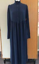 Laura Ashley vintage dress blue fine wool victorian high neck size 12 long