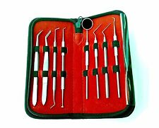Set Dental Dentist Probe Scaler Tweezers Instruments pick Tool Kit Leather Case