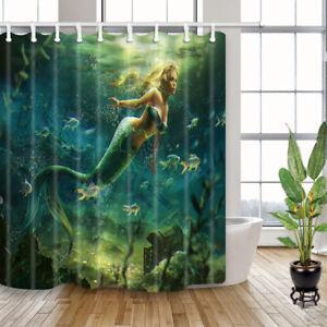 """Mermaid Girl Swimming In Ocean Waterproof Fabric Shower Curtain 71*71"""" 12 Hooks"""