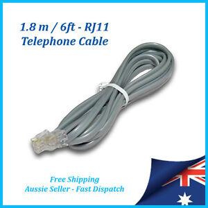 RJ11 Telephone Cord Cable 1.8 mtr / 6ft- Phone Line, NBN, ADSL Modem, Fax Socket