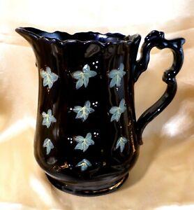 Antique JACKFIELD Water Jug VICTORIAN Black VINTAGE Floral HAND DECORATED