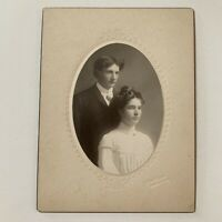 Antique Cabinet Card Photo Beautiful Young Woman Handsome Man Oregon City OR