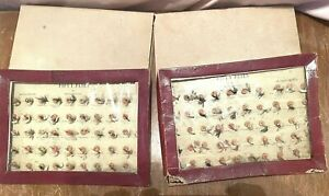 2 Vintage Store Display Card of Hand Tied? Dry Fly Fishing Flies in boxes