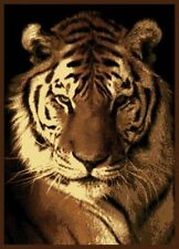 Single Tiger Portrait 5X8 Area Rug Carpet