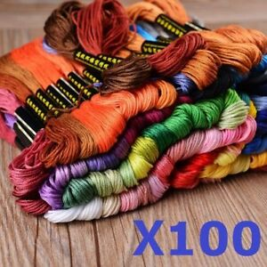 100 Mixed Different Colours Embroidery Thread Cross Stitch Kit Cotton Sewing UK