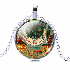 Vintage Style Silver Halloween Black Cat Christmas Party Pendant Necklace N446