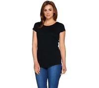 Isaac Mizrahi Live! Essentials Scoopneck Knit T-Shirt Top Black XS A275455