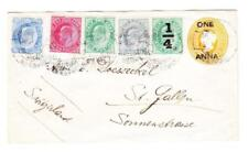 India Postal Envelope-HG:B7-uprated SG#126,#123,#121,#119,#148-KULRI TSO,