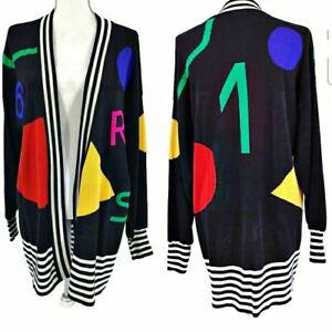 Escada Laurel Vintage Cardigan 80's New Wave Street Wear Colorful 8 38 Oversized