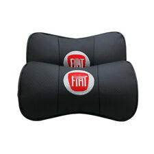 2Pcs Car Headrest AUTO Pillow Black Leather Seat Neck Rest Cushion For Fiat