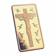 TEN 10 COMMANDMENTS JESUS ON THE CROSS CRUCIFIXION GOLD PLATED COIN TOKEN MEDAL