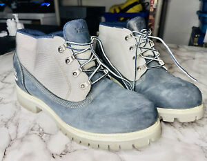Men's Timberland suede gray blue boots size 10