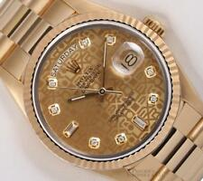 Rolex Men Day-Date 18038 President 36mm 18k Gold Watch-Gold Jubilee Diamond Dial