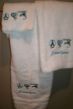 Peace Love Hairstyling Hairstylest Gift Personalized 3 Piece Bath Towel Set