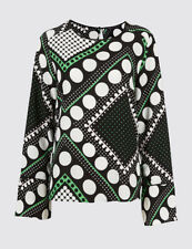 MARKS & SPENCER COLLECTION Spotted Flute Cuff Long Sleeve Blouse T433702 BNWT