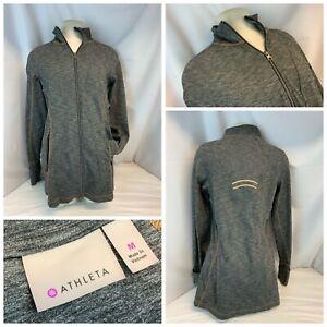 Athleta Yoga Jacket M Women Gray Full Zip Thigh Length Nylon Poly YGI B1-214