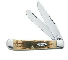 CASE XX KNIVES AMBER BONE CV TRAPPER KNIFE #163 USA  MINT NEW USA MADE