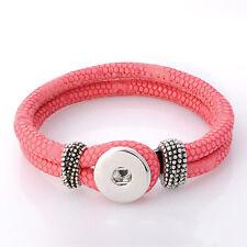 Leder ARMBAND Chunk Click Button Druckknopf Chunks (23 cm) Rosa Neon Pink #4131