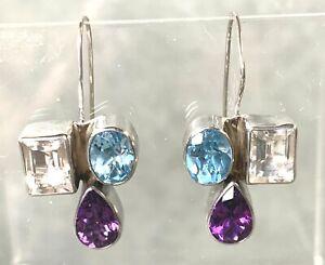 Earrings by Gertrude Zachary Amethyst Blue Topaz Zircon Sterling Silver