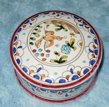Ceramica Coimbra Portugal Vintage Unsigned Bird Round Trinket Vanity Box VGC