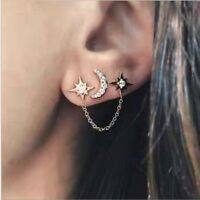 Women Elegant Crystal Rhinestone Ear Stud Moon Star Earrings Fashion Jewelry