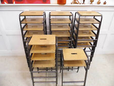 More details for vintage retro reclaimed ex school stools stacking remploy kitchen bar stools