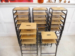 Vintage Retro Reclaimed Ex School Stools stacking Remploy kitchen Bar Stools