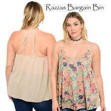 New Ladies Beige Halter Style Floral Tops Plus Size 14/1XL (1039)OG