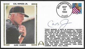 Cal Ripken Jr Signed 2632 Streak Ends Gateway Stamp Cachet Baltimore Postmark