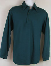 Vintage PENDLETON Medium Deep Green Wool Long Sleeve Pullover Polo Sweater Shirt