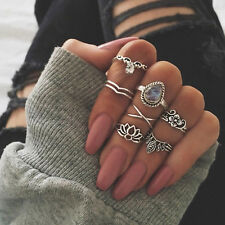 7pcs Vintage silver Boho Finger Knuckle Ring Band Pearl Midi Rings Stacking Ring