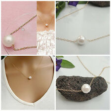 Fashion Women White Imitation Pearl Pendant Necklace Gold Chain Jewelry