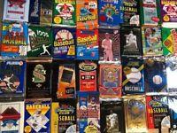 NEW OLD VINTAGE MLB BASEBALL 100 CARDS LOT IN UNOPENED SEALED PACKS ESTATE FRESH