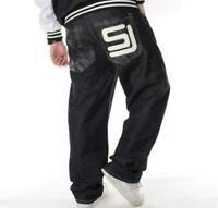 Mens Jeans Baggy Loose Denim Hip-Hop Streetwear SkateBoard Trousers Black