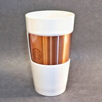 Starbucks Copper Band Tumbler Mug Ceramic 2012 White 10 Oz Mermaid Logo Cup