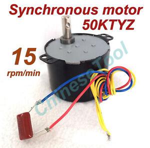 Synchronous Motor 50KTYZ AC 110V 120V 50/60Hz 15 r/m CW/CCW 6W Torque