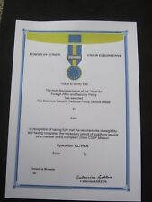 EU FORCE MEDAL CERTIFICATE FOR OPERATION ALTHEA - EXCELLENT ITEM