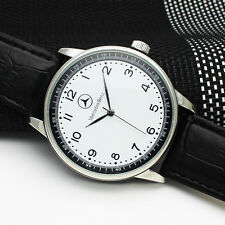 Mercedes Benz Men's Watch Black Leather Strap Stainless Steel Wrist Watch Mens