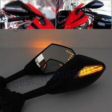 MATTE BLACK MOTORCYCLE LED TURN SIGNALS REARVIEW MIRRORS FOR HONDA SUZUKI YAMAHA