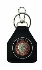 Jaguar Head, Round Red , Quality Leather Keyring