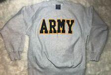 90s Pro Weave Us Military Army Embroidered Crewneck Sweatshirt Mens Medium Gray