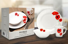 12 Piece Dinner Set Red Poppy 4x Plates,Bowls & Mugs Dishwasher Safe Ceramic