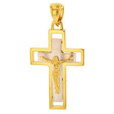 Polished 14k Two-Tone Gold Latin Cross Crucifix with Jesus Pendant