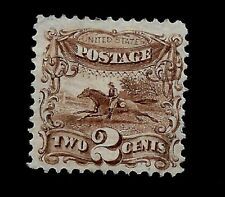US 1869 Sc 113 2 cent Post Horse & Rider Mint NG-Centered-Vivid Color-APS Certf.
