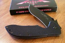 EMERSON New Super Commander Black Plain Edge 154CM Blade W/Wave Knife/Knives
