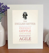 "English Setter 10""x8"" Free Standing Breed Traits Picture Mount Lovely Gift Idea"