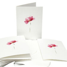 New 10 x Note Cards & Envelopes Watercolour Pink Flower Premium White Card Stock