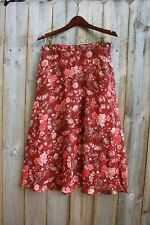 CHRISTOPHER & BANKS Rust and Coral Floral Fall Skirt, Size 8