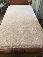 "Vintage Hand Crocheted 70"" x 50"" Rectangular Tablecloth Bed Spread Coverlet"