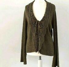Cardigan UK 16 Olive Green Dark Tie Autumn Winter Layer Knit Jumper Sweater